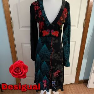 Desigual size l large red rose black dress EUC 🌹